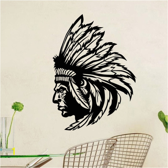 DCTOP Native American Indian Chief Wall Decal Art Decor Sticker Vinyl Mural Home Decor Wallpaper Removable Sofa Background Decal