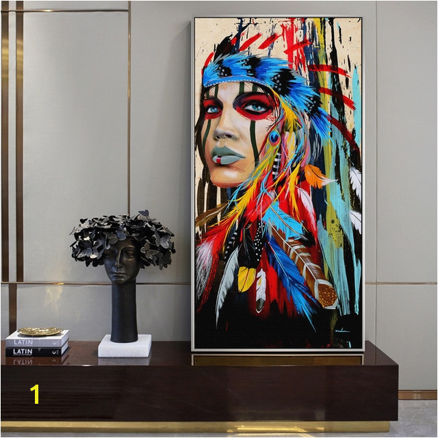 Native American Indian Girl Canvas Art Wall Paintings Watercolor Indian Woman With Feather Posters And Prints For Living Room