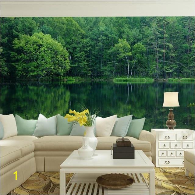 Home fice Decor Mural Wall Papers 3D Nature Green Forest Landscape Wallpaper Murals Self Adhesive Vinyl Silk Wallpaper