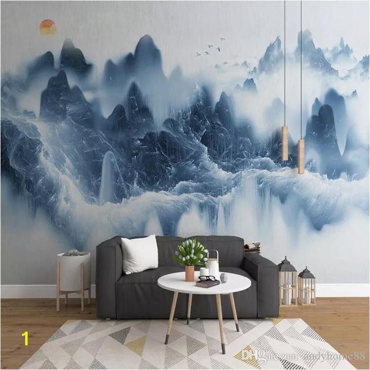 3d Chinese TV Background Wall Paper Ink Landscape Artistic Mural Painting Living Room Decoration Wall Cloth Wallpaper High Resolution Wallpaper High