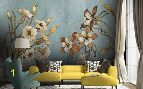 Vintage Floral Wallpaper Retro Flower Wall Mural Watercolor Painting Wall Art Natural Home Decor Caf