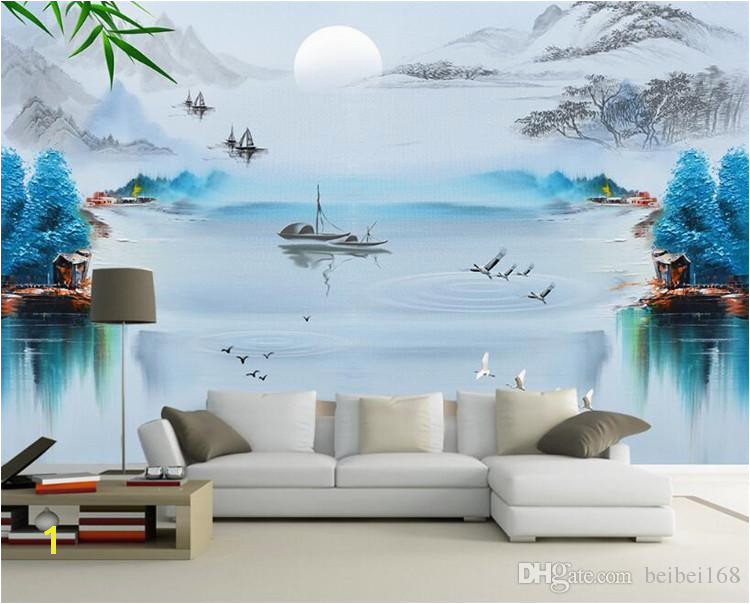 Customized photo wallpaper 3d wall murals wallpaper Ink painting landscape town fishing boat mural 3d TV