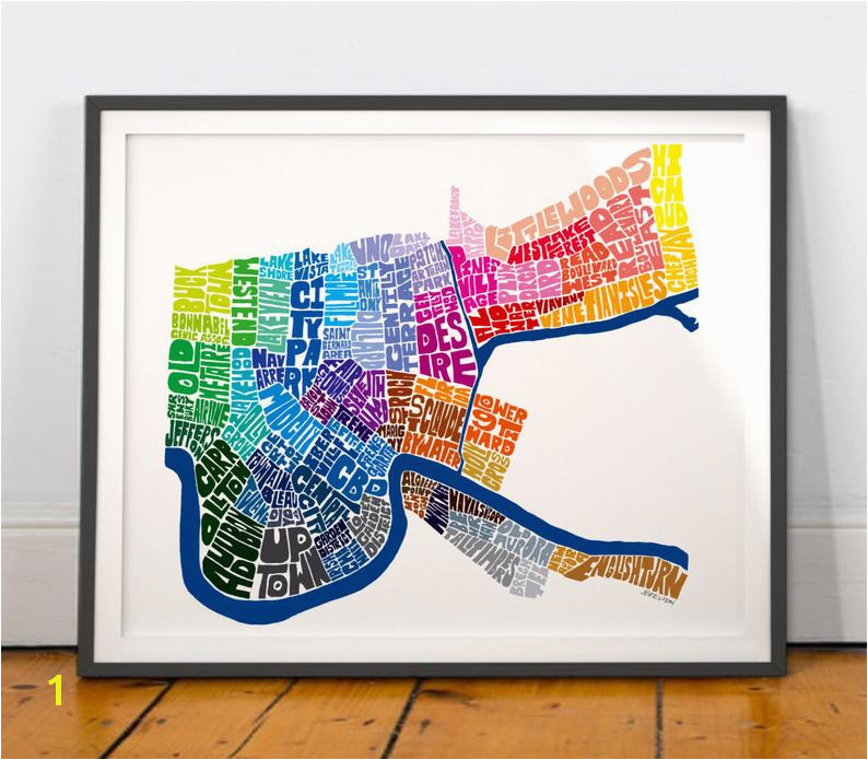 New Orleans Neighborhood Map Art Print New Orleans wall decor New Orleans typography map art NEW VERSION