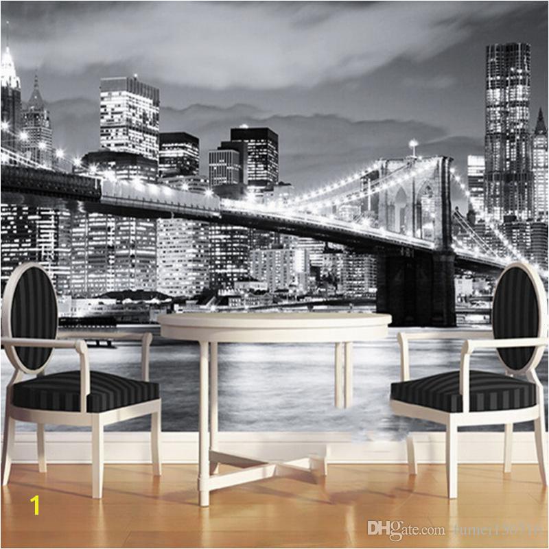 Custom Mural Manhattan Bridge New York European And American Cities Black And White Living Room Backdrop Wallpaper Mobile Wallpaper Download Mobile