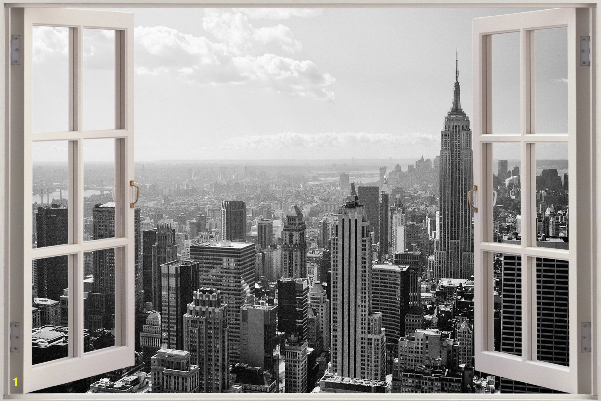 New York Skyline Mural Black and White Huge 3d Window New York City View Wall Stickers Mural Art Decal