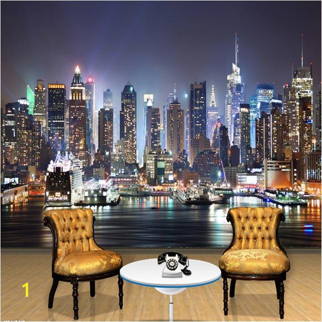 Custom Mural Wallpaper 3D New York City Night Scenery Mural Living Room Sofa TV Background Seamless Wallpaper Non woven