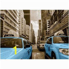 Around the World Taxi Cab Graphic Art in Baby Blue East Urban Home Wall Fixing Colour