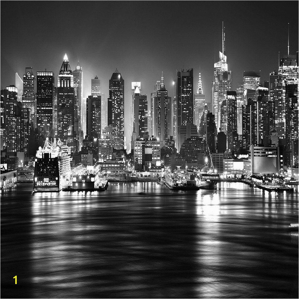 New York Wall Mural by Robert Harrison New York City at Night Skyline View Black & White Wallpaper Mural