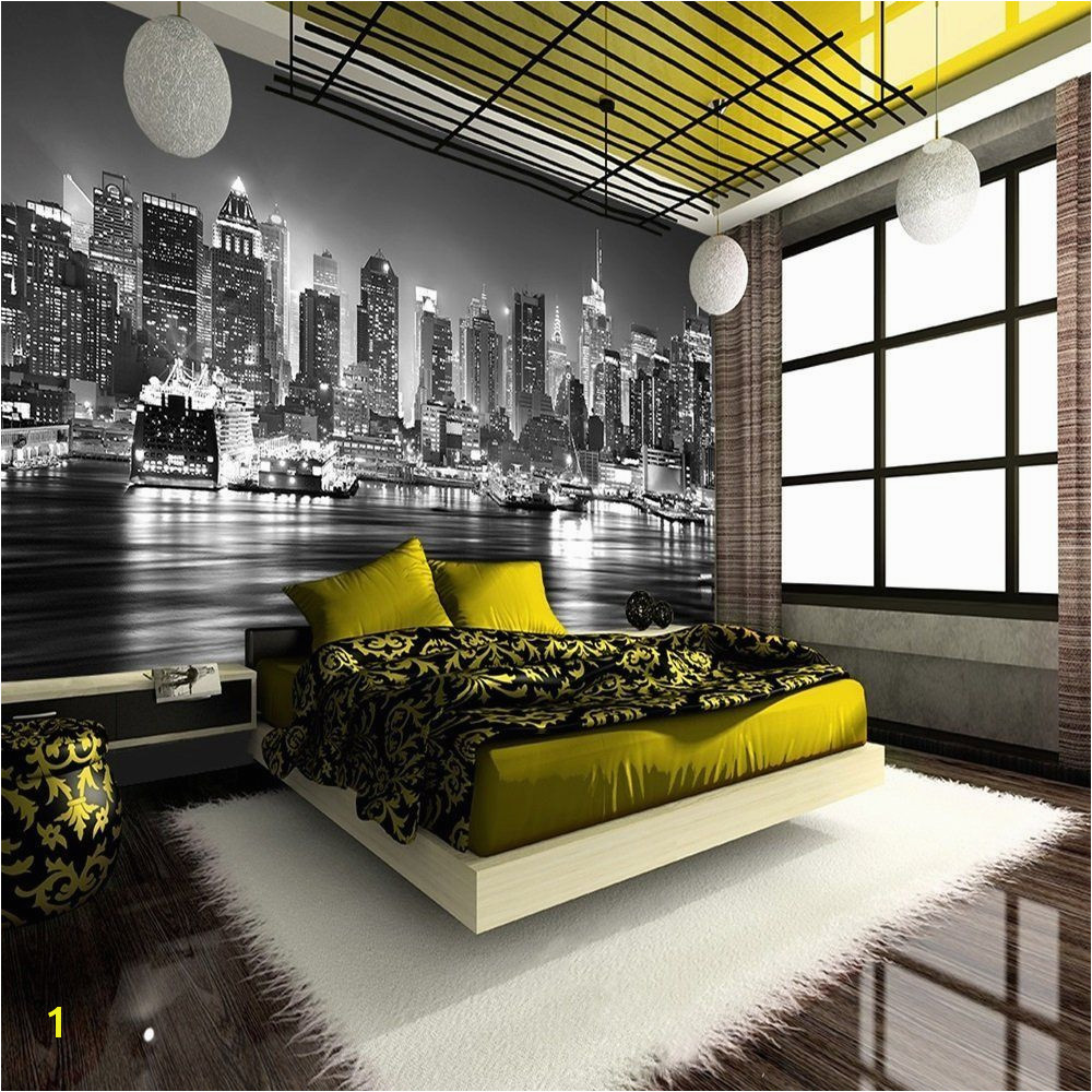 NEW YORK CITY AT NIGHT SKYLINE VIEW BLACK & WHITE WALLPAPER MURAL PHOTO GIANT WALL POSTER DECOR ART Amazon Kitchen & Home