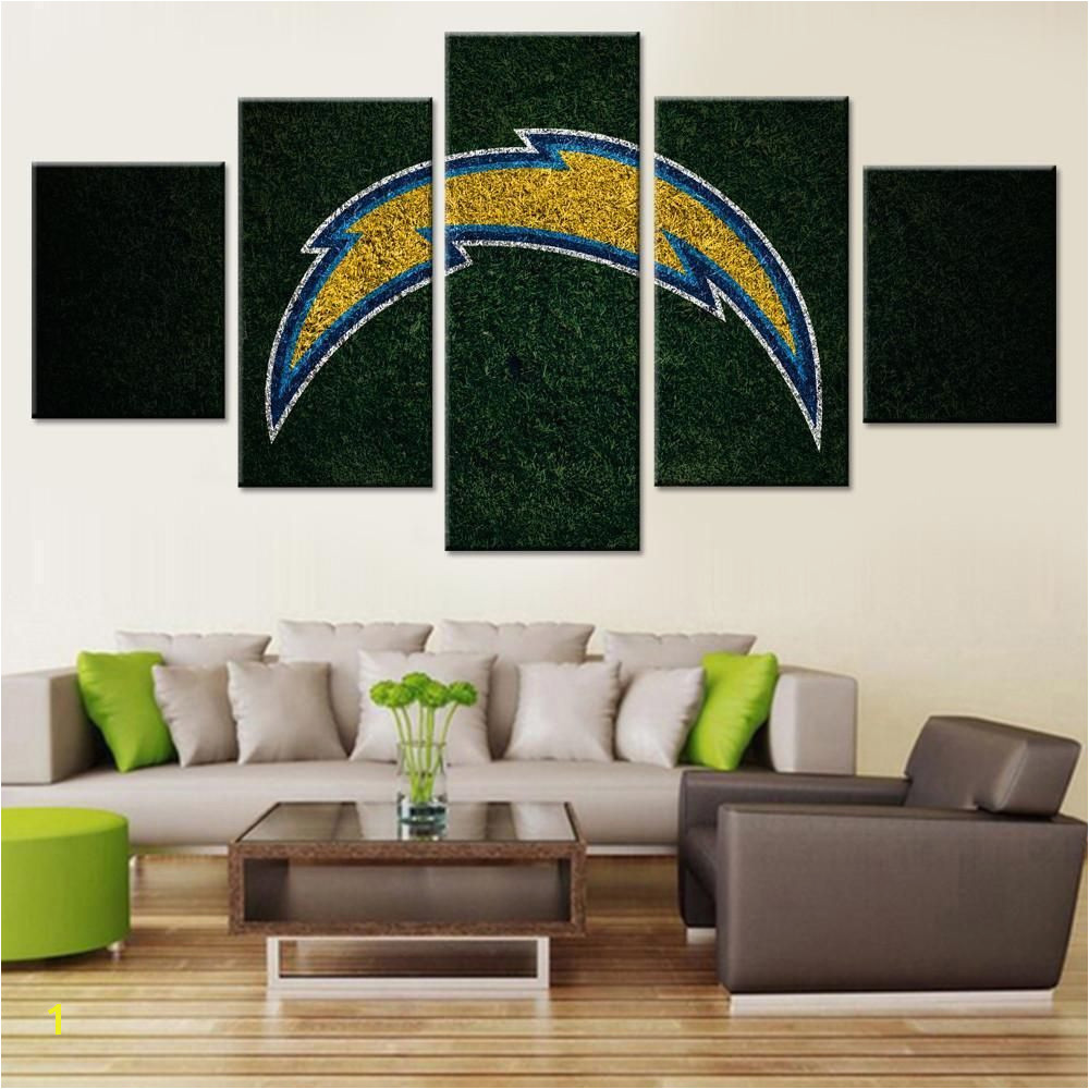 Framed 5Pcs SAN DIEGO CHARGERS LOGO Canvas Print Wall Painting Art Home Decor canvas homedecor nfl