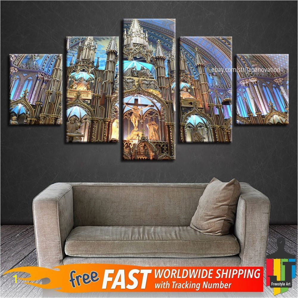 5 Pieces Home Decor Canvas Print Wall Art Montreal Notre Dame Basilica Landscape