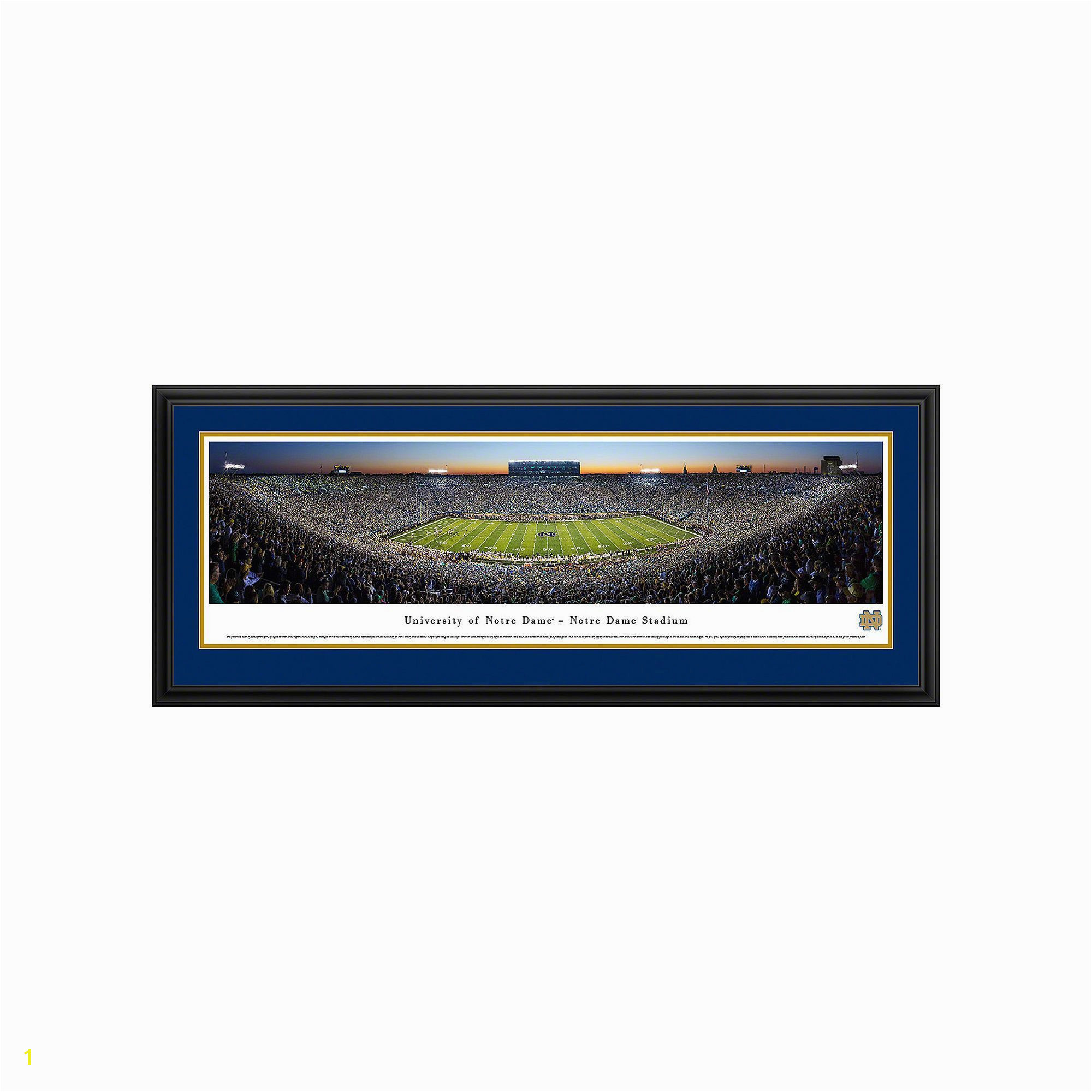 Notre Dame Fighting Irish Football Stadium Twilight Framed Wall Art Multicolor
