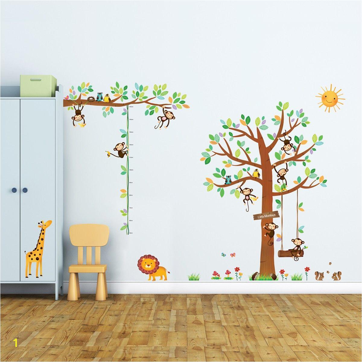 8 Little Monkeys Tree & Height Chart Wall Stickers