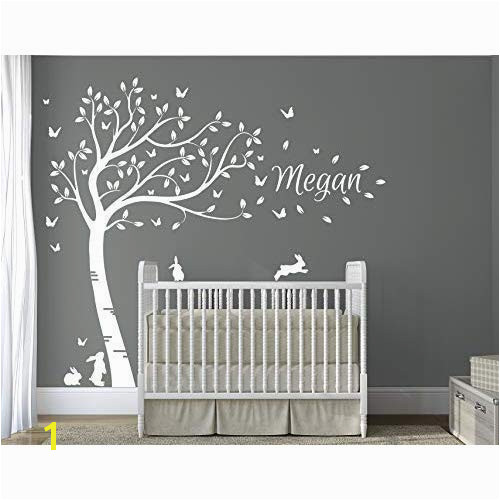 DesignDivil s Personalised Name with Full Size Beautiful White Bunny Rabbits Tree Nursery Room Wall Decal DD007