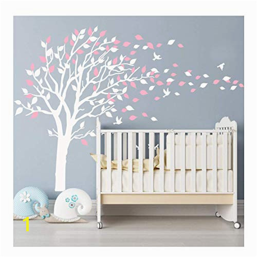 BDECOLL Nursery Wall Stickers Cherry Blossom Tree Wall Decals Flying Birds Wall Art for