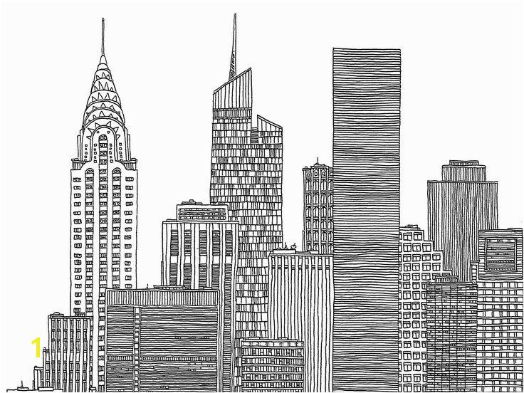 For New York City Skyline Black And White Illustration Ny Pinterest