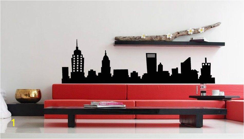 NEW YORK CITY NYC SKYLINE Mural Vinyl Wall Art Decal Sticky Sticker Home Decor