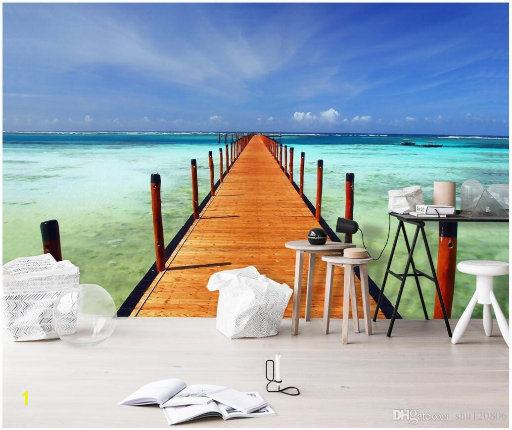Ocean Murals Wall Decor 3d Wallpaper Custom Mural Sea Wood Bridge Seaside Scenery Tv