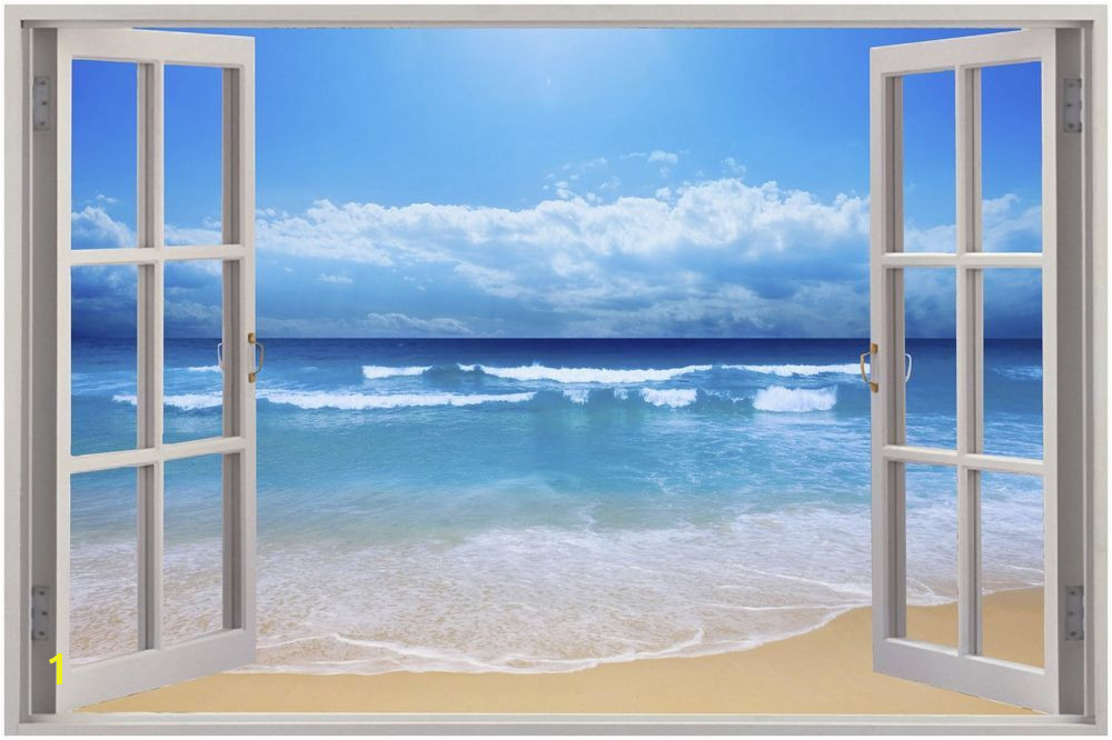 Huge 3D Window Exotic Beach View Wall Stickers Mural Art Decal Wallpaper