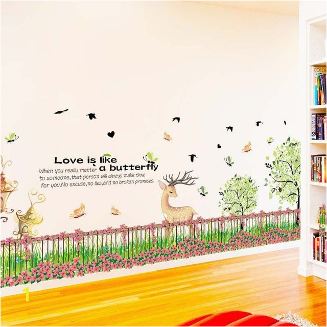 Fence Flower Grass Wall Stickers PVC Material Green grass Fawn Baseboard wall decals For Kids Room Nursery Decoration Murals