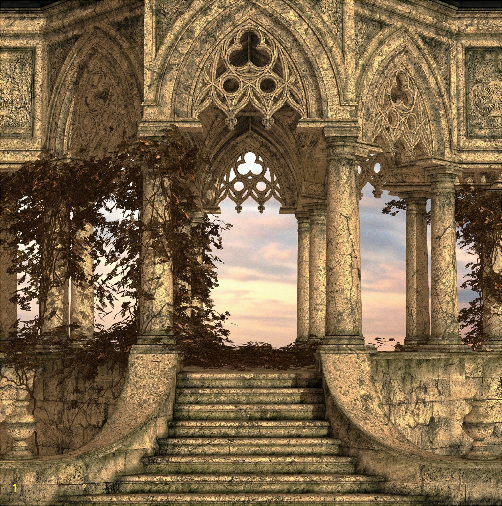Ancient Stairs Wall Mural Architecture Old World Exquisitely strong stone stairs leading to a view of which we only a small glimpse