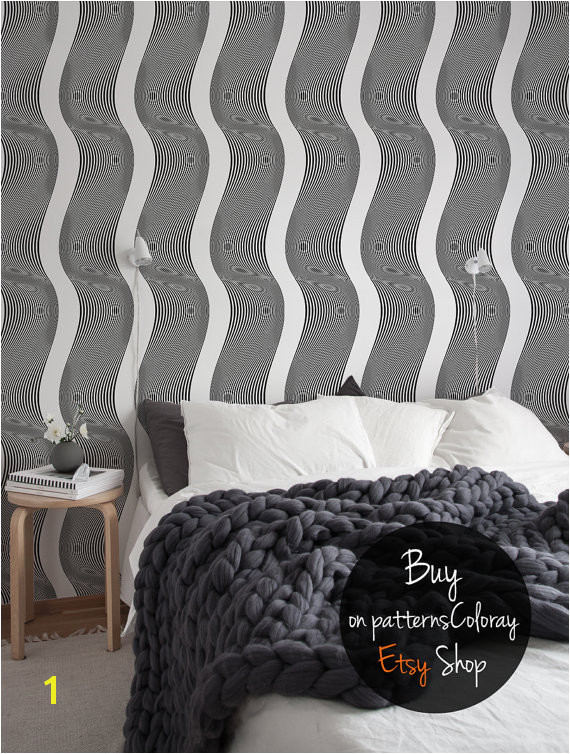 Op art wallpaper black and white optical illusion wall mural pattern removable reusable self adhesive 95