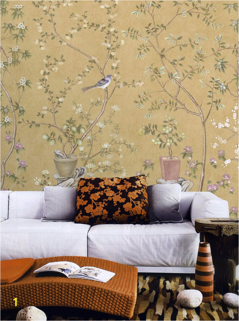 Vintage Taupe Chinoiserie Wallpaper Flower Branch Birds Peach Plum Bonsai Trees Wall Mural Retro Chinese Japanese