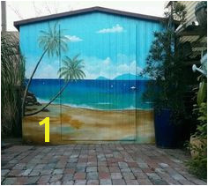 Outdoor Garden shed painted with beach scenery Shed makeovers Outdoor hand painted mural