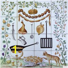 HANGING FOODS Hand Painted Ceramic Tile Mural Backsplash Custom Painted Indoor Outdoor Tiles