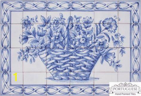 BLUE FLOWER BASKET Hand Painted Ceramic Tile Mural Backsplash Custom Painted Indoor Outdoor Tiles