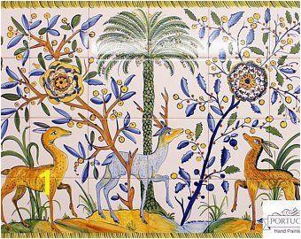 DEER Hand Painted Ceramic Tile Mural Backsplash Custom Painted Indoor Outdoor Tiles