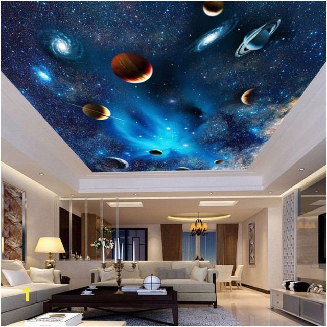 Outer Space Ceiling Murals Universe Space Planet Night Sky Stars Mural for Kids Bedroom