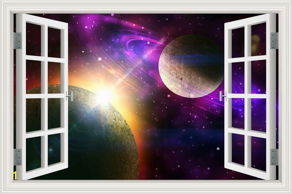 Amazon Peel & Stick Wall Murals Outer Space Galaxy Planet 3D Wall Srickers for Living Room Window View Removable Wallpaper Decals Home Decor Art 32x48