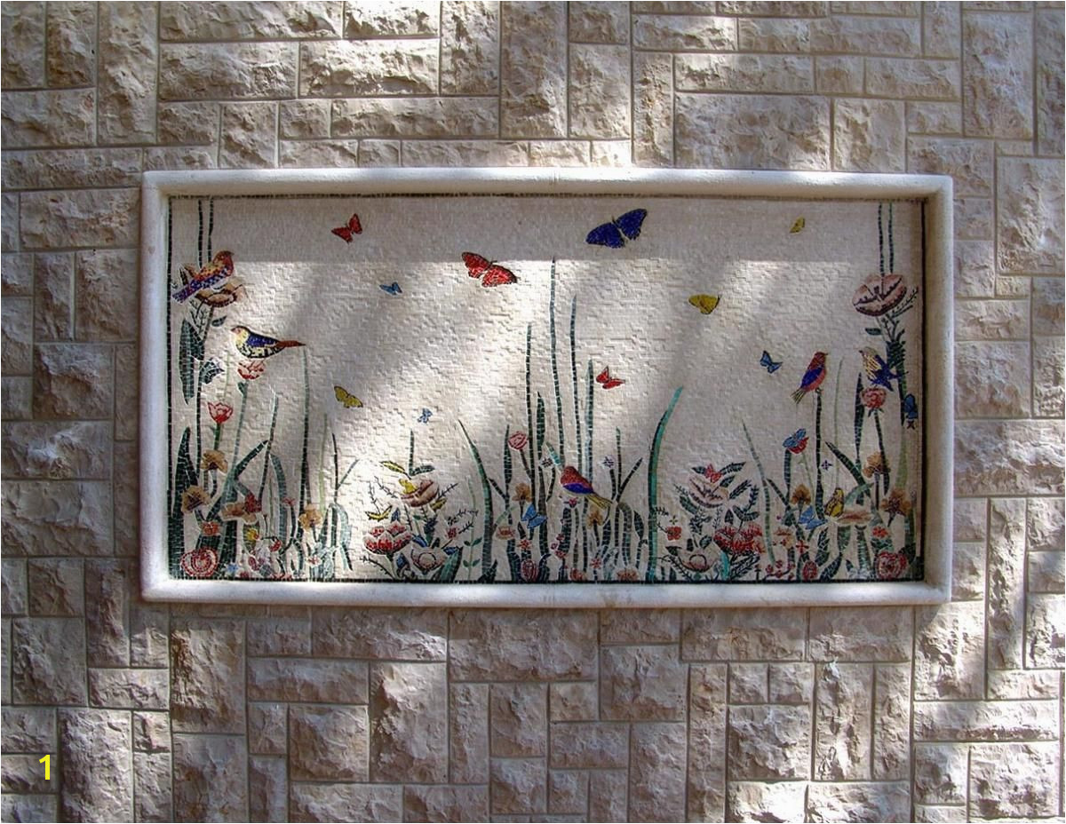 Butterflies mosaic for an outside wall