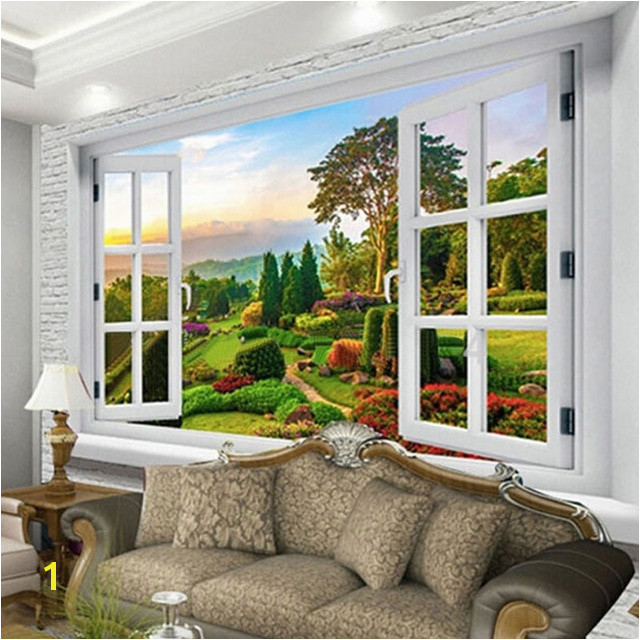 Custom Mural Wallpaper Outside The Window Pastoral Path Nature Landscape 3D Wall Mural Living Room Backdrop