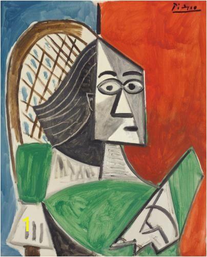Pablo Picasso Femme assise sur fond bleu rouge 1956
