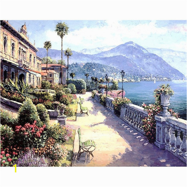 DIY Digital Painting By Numbers Package Sunny Bali oil painting mural Kits Coloring Wall Art Picture Gift frameless