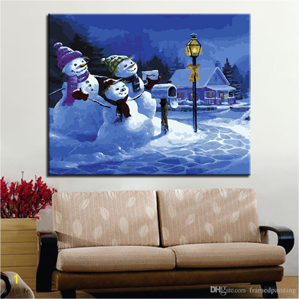 2019 Oil Painting By Numbers DIY HandPainted Winter Snowman Family Canvas Home Decor For Living Room Wall Art Framework From Framedpainting