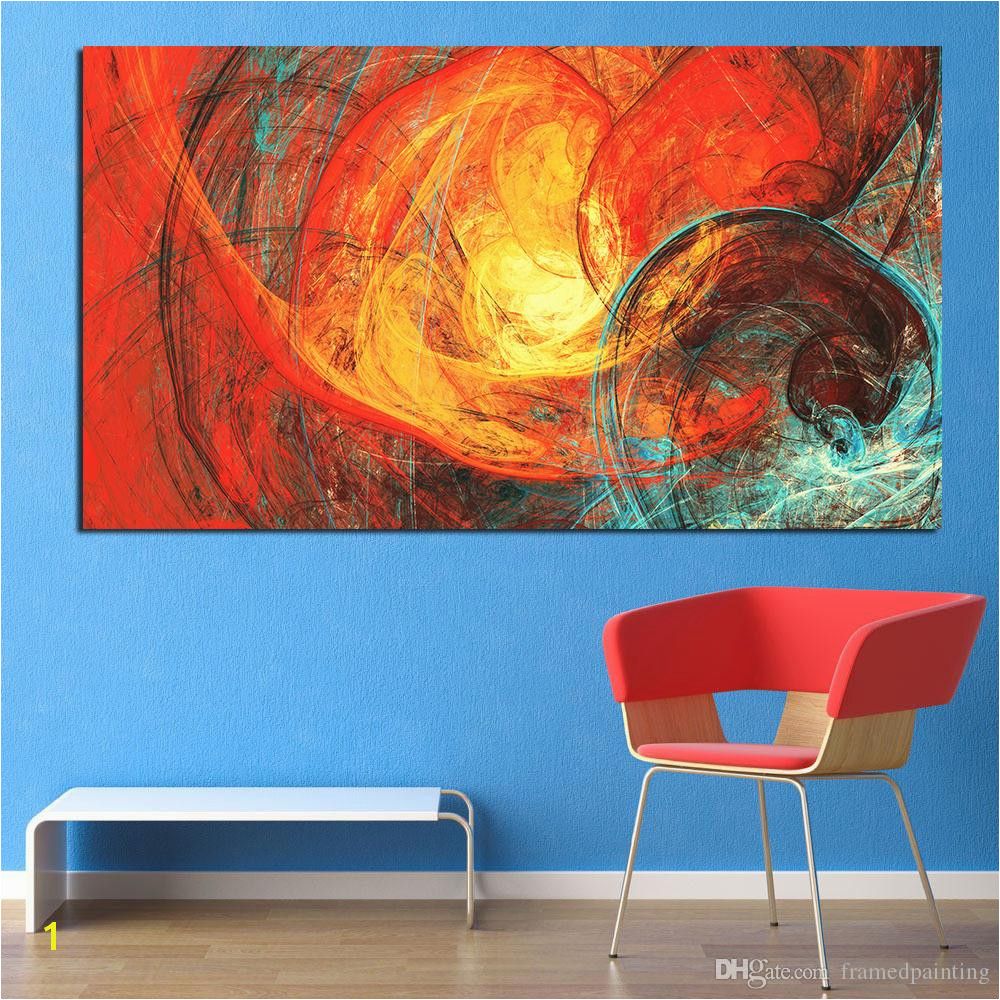 Paint by Number Wall Murals for Adults 2019 Wall Art Painting Red and Blue Abstract Wall for
