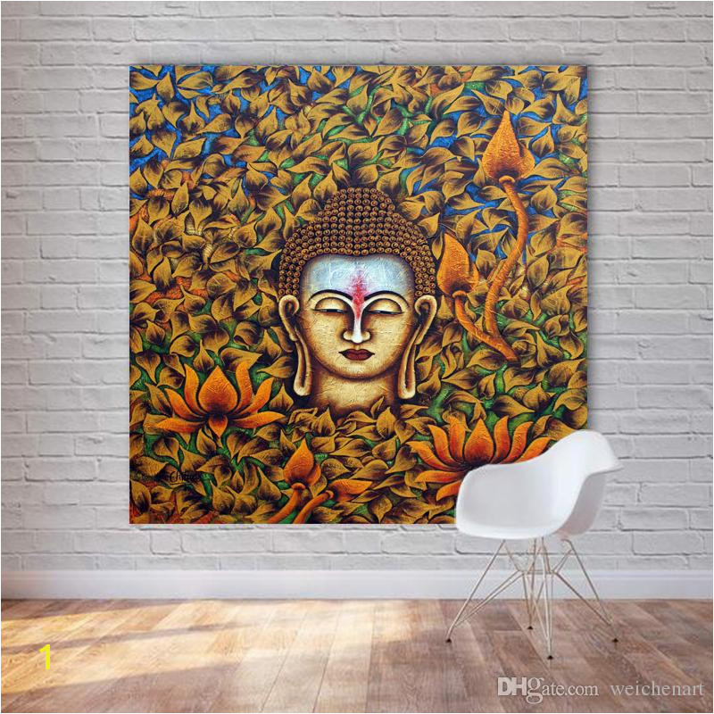 2019 1 Panel Buddha Head Oil Painting Printed Canvas Wall Art Poster And Print For Living Room Unframed Decorative No Frame From Weichenart