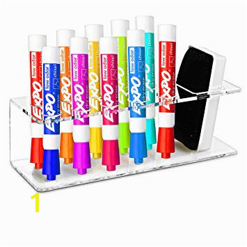 Clear Acrylic Wall Mountable 10 Slot Dry Erase Marker & Eraser Holder Organizer Rack MyGift