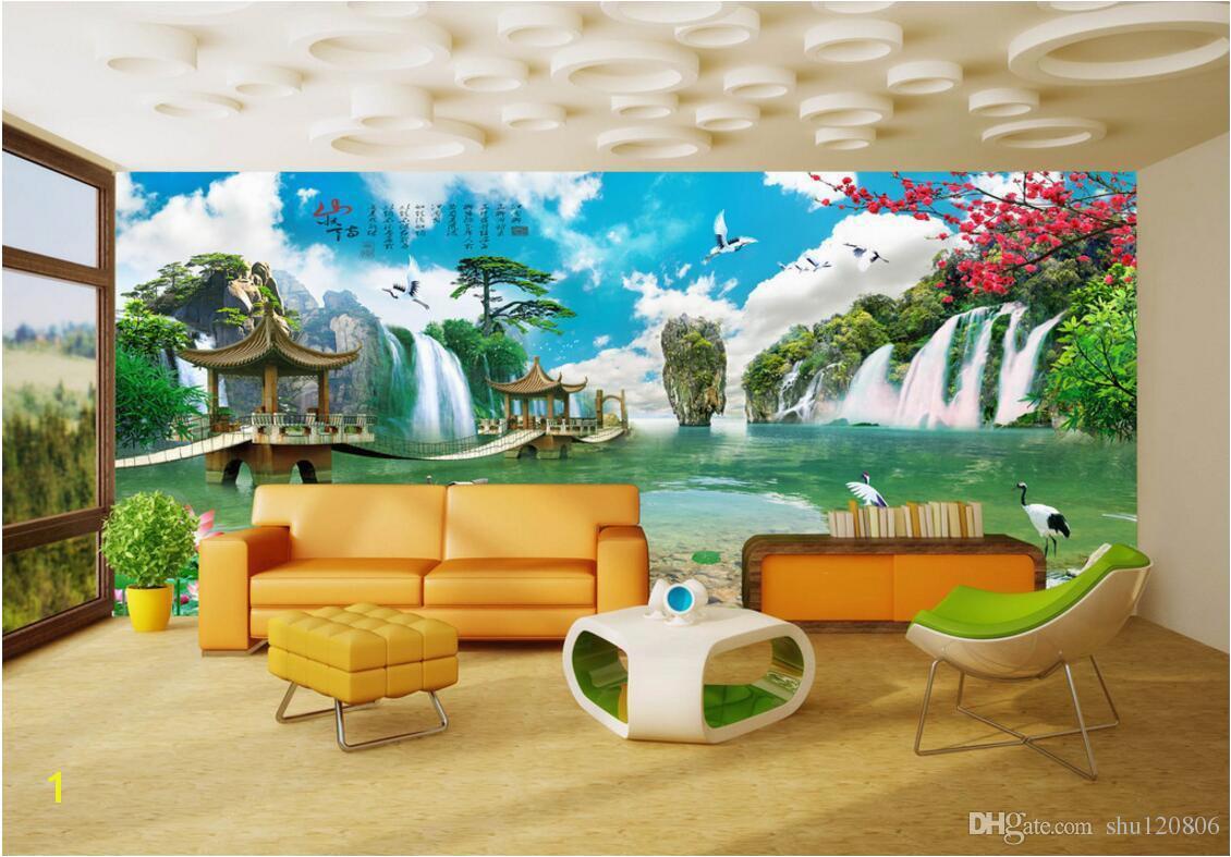 3d Room Wallpaper Custom Non Woven Mural Chinese Landscape Court Building Painting Picture 3d Wall Murals Wallpaper For Walls 3 D H Wallpaper Ha