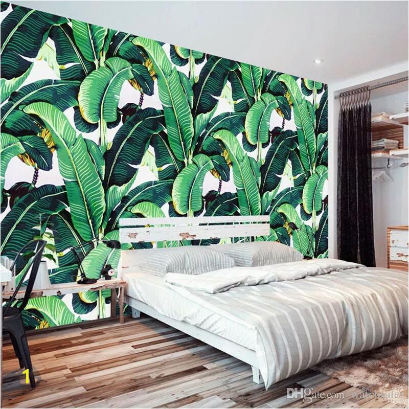 Custom Wall Mural Wallpaper European Style Retro Hand Painted Rain Forest Plant Banana Leaf Pastoral Wall Painting Wallpaper 3D Free Wallpaper Hd Widescreen