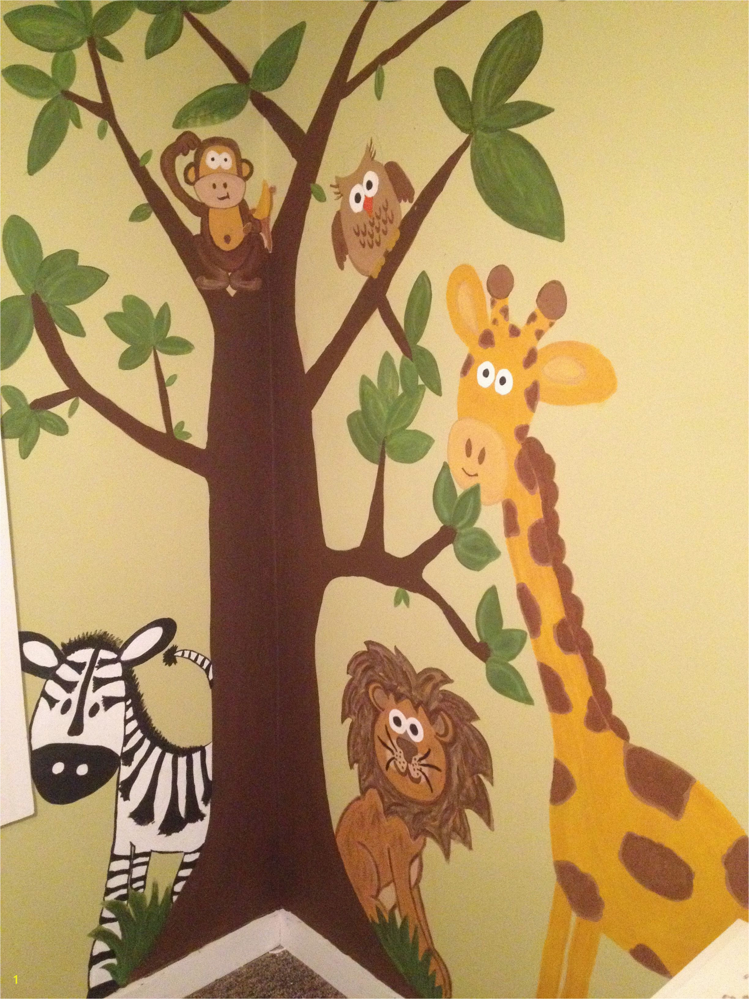 Jungle wall mural hand painted =] Room Wall Painting Kids Room Paint Mural