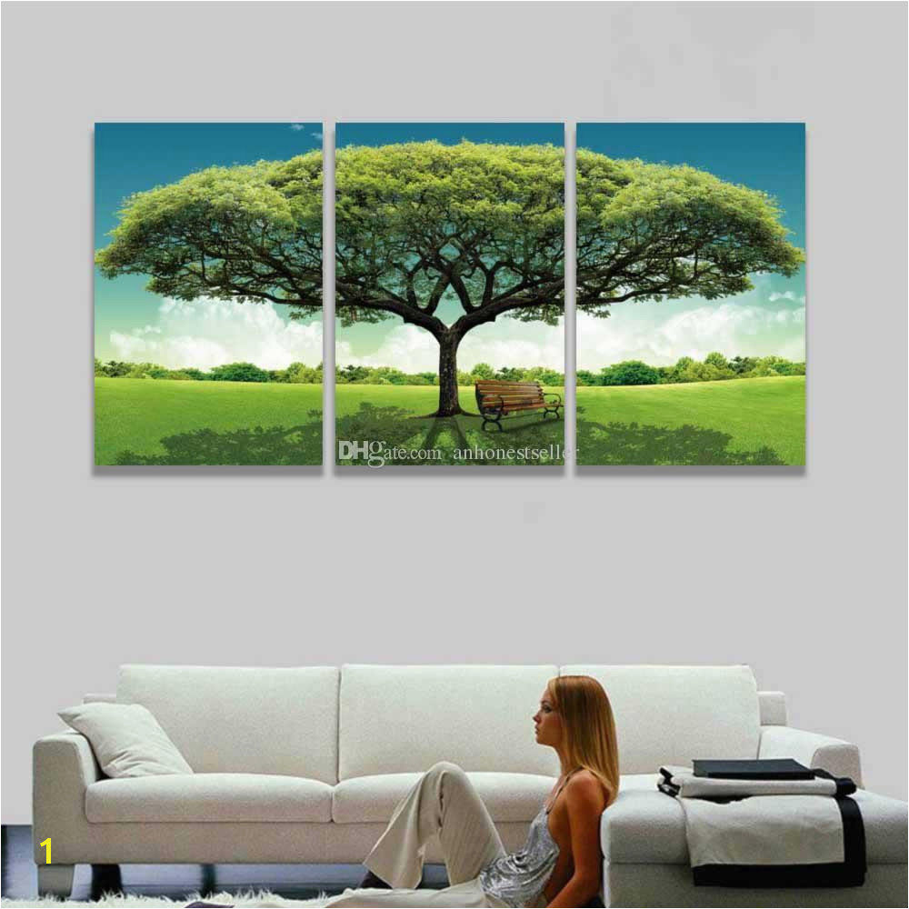 2019 3 Panel Canvas Wall Art Green Tree Scenery Landscape Painting Modern Picture For Home Decor Living Room Bedroom Gift From Anhonestseller