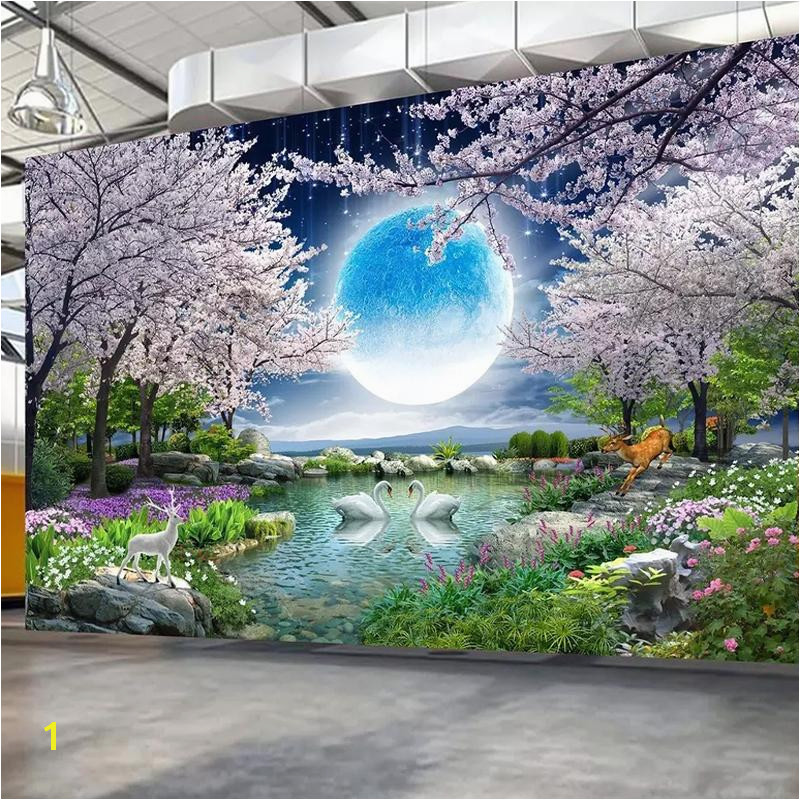 Custom Mural Wall Paper Moon Cherry Blossom Tree Nature Landscape Wall Painting Living Room Bedroom Wallpaper Home Decor Animated Wallpaper Animated