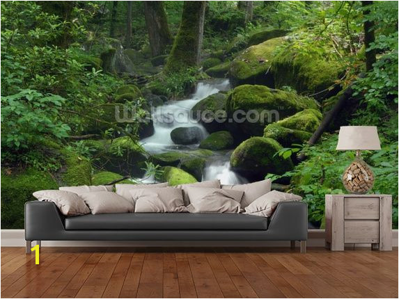 Mossy Waterfall wall mural in room view
