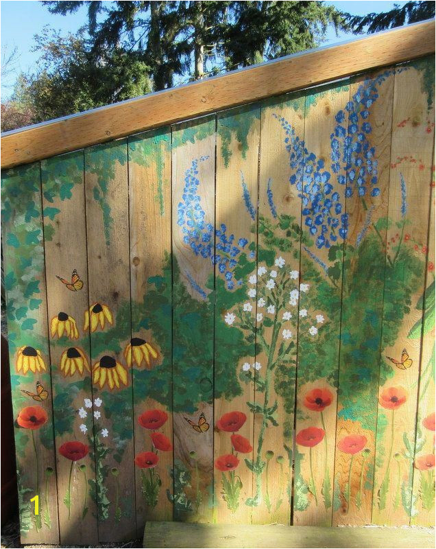 Garden mural on chicken coop Free hand painting with acrylic paint chickencoop