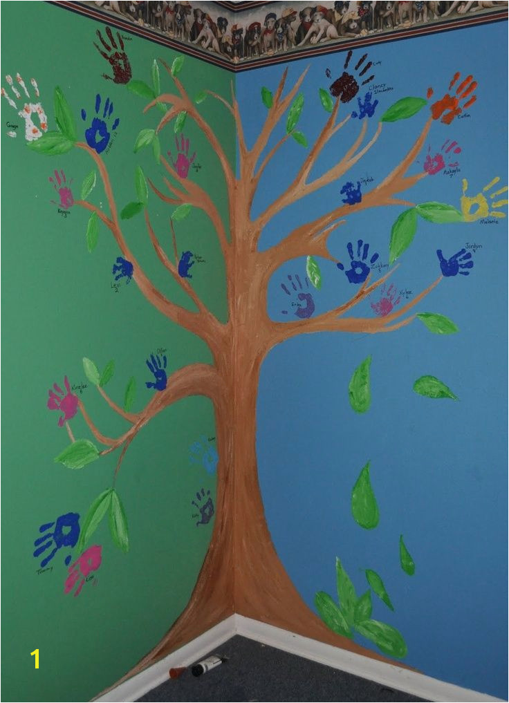 Painting A Tree Mural Family Handprint Tree Wall Mural Ideas Pinterest