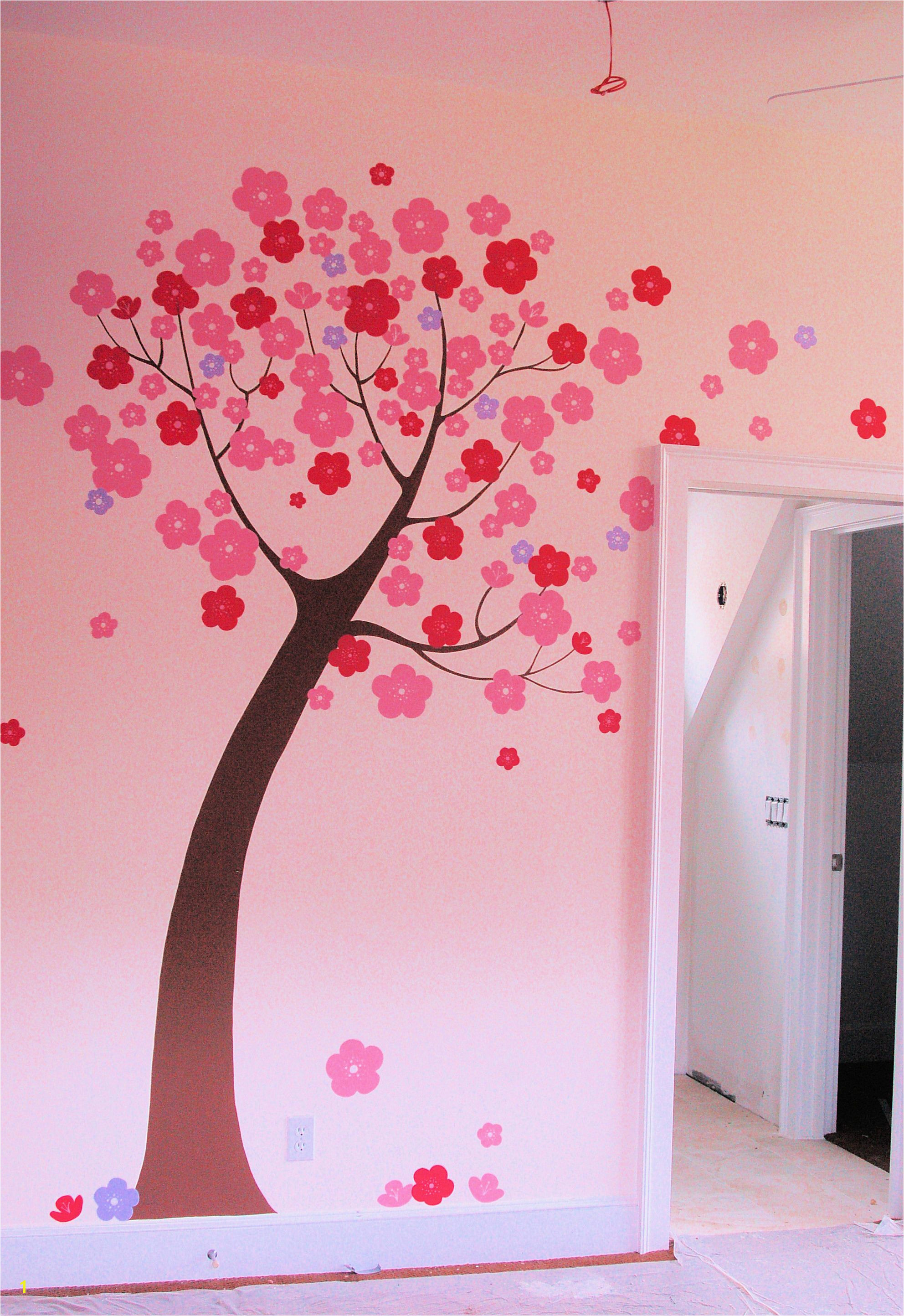 Hand Painted Stylized Tree Mural in Children s Room by Renee MacMurray love wall murals